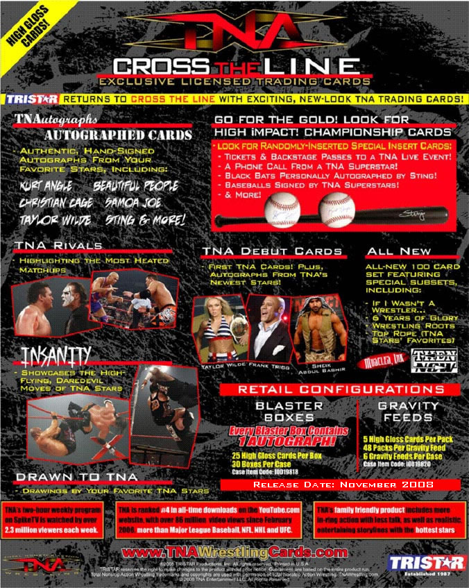 tna cross the line trading cards