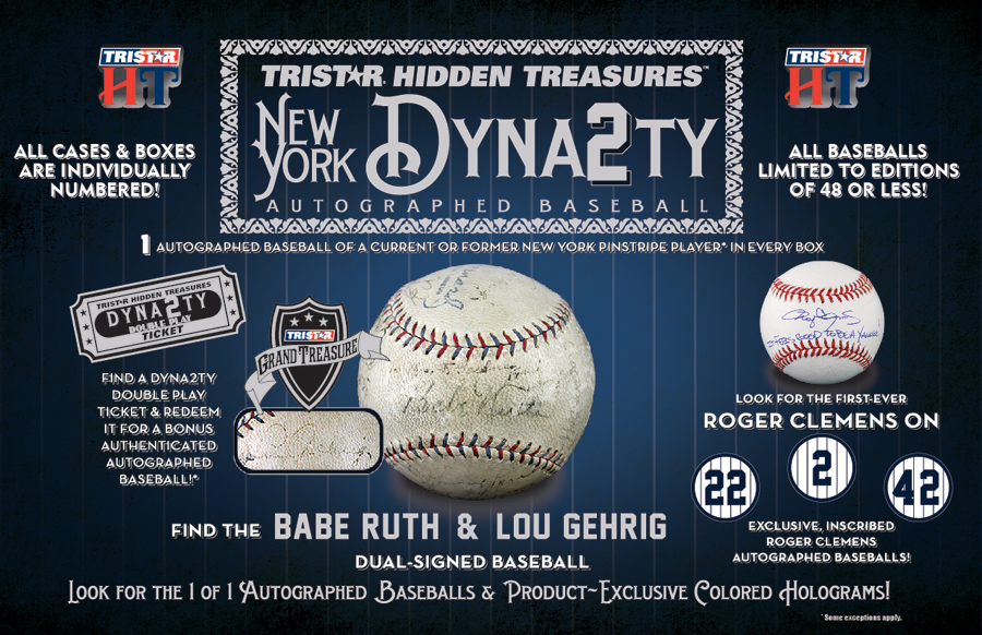 TRISTAR Hidden Treasures Autographed Baseball New York Dynasty Edition